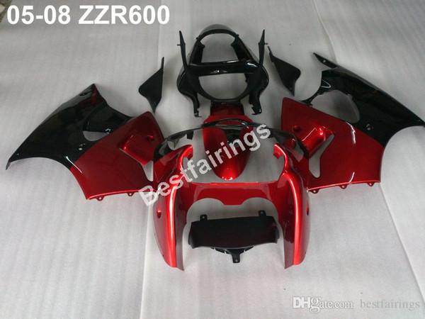 New hot injection mold fairing kit for Kawasaki ZZR600 05 06 07 08 red black fairings set ZZR 600 2005-2008 ZV33