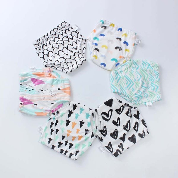 6pcs/lot Baby Infant Toddler Waterproof Training Pants Boys Girls Cotton Changing Nappy Cloth Diaper Panties Reusable Washable