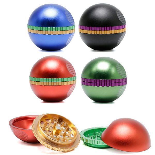 best selling Unique Ball Shape Grinder Herb Spice Crusher Metal Pepper Grinders Made Of Aluminum Alloy Herb Vaporizer Accessories 4 Colors