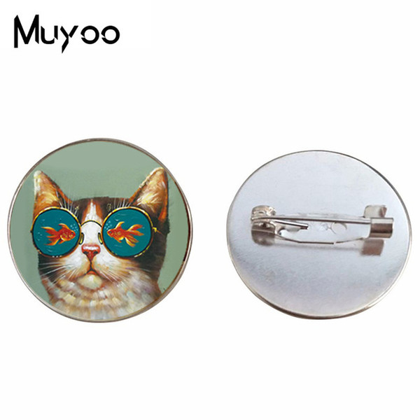 2019 New Style Cat And Fish Brooch pin Animal Photo Brooches Cartoon Painting Pins Gifts Women Silver Bronze Jewelry Glass Round