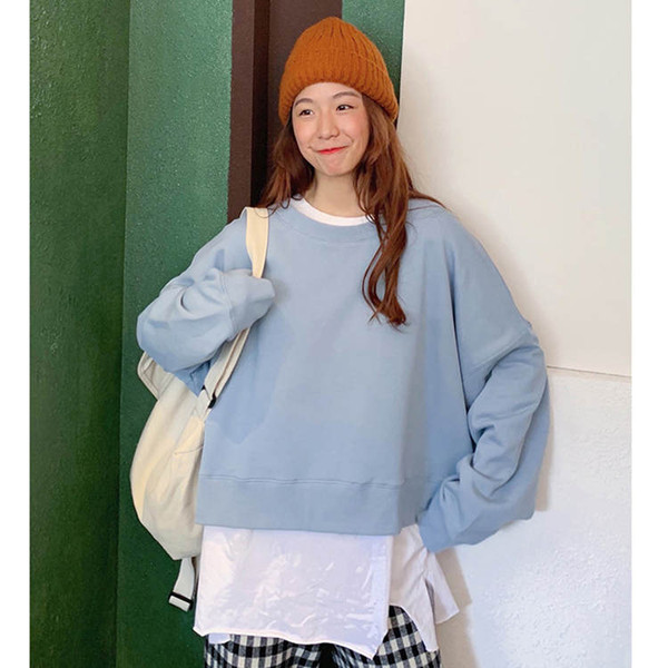 Wholesale Girlish Women Hoodie Women Sweatshirt Women Jumper Pure Color Simple Style Light Blue B100755Z