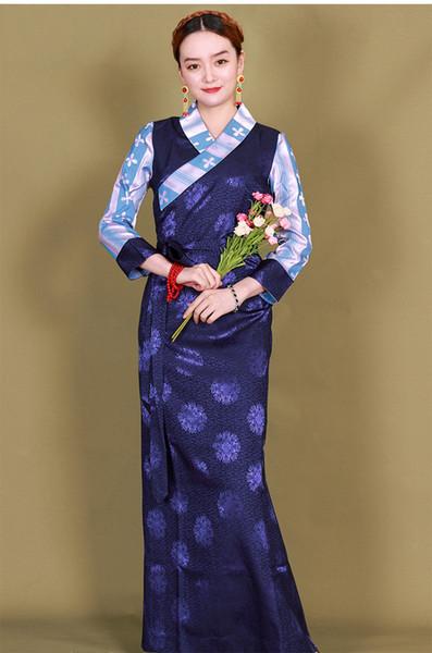 Abbigliamento tradizionale Asia Abito tibetano Costume nazionale Donna elegante Abito lungo Abito di minoranza Miscela di seta Indumento etnico del festival