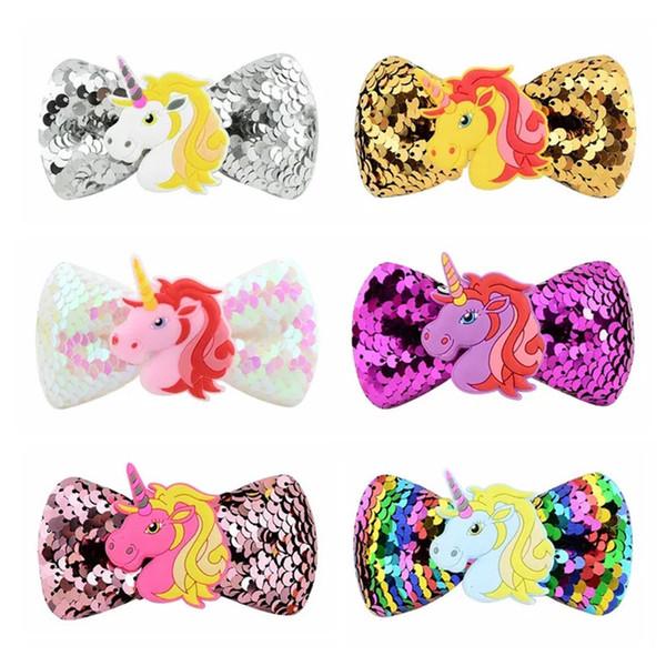 Newest 3.7 Inches Fashion jojo bows baby girl hair barrettes Cartton Sequins Unicorn Clippers Girls Hair Clips JOJO SIWA Hair Accessories