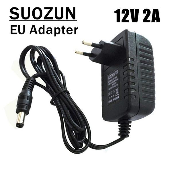 SUOZUN 12V 2A AC 100V 240V Converter Adapter DC 12V 2A 2000mA Power Supply  US Plug 5 5mm X 2 1 2 5mm For LED CCTV Power Connector Shaver Socket From