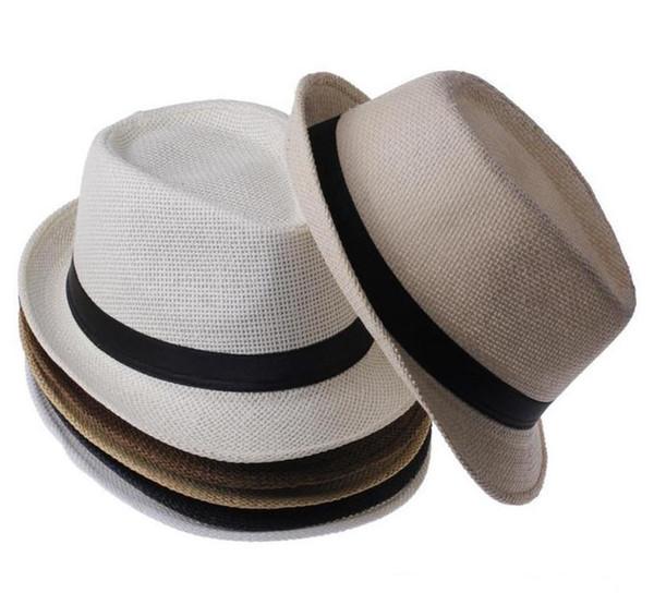 Chapeaux de paille du Panama Fedora Soft Fashion Hommes Femmes Stingy Brim Caps 6 Couleurs Choisissez 10pcs / lot