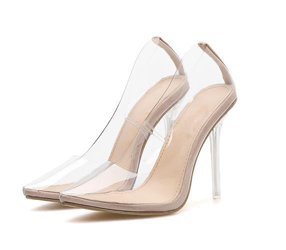 Plus size 35 to 40 41 42 clear high heels woman shoes designer shoes luxury transparent pointed pumps