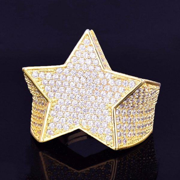 Men's Star Ring 18 K Copper Charm Gold Silver Color Full Zircon RING Fashion Hip Hop Rock Jewelry