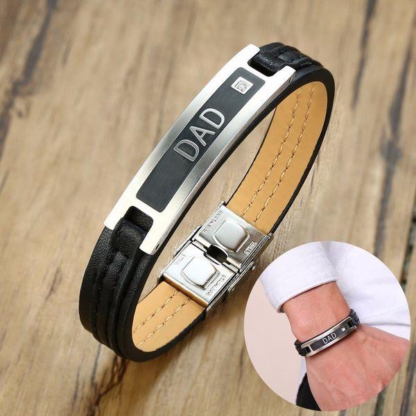 Dropship cadeau de fête des pères hommes noir bracelet en cuir véritable avec CZ papa bracelet Bileklik Braslet Brazalete