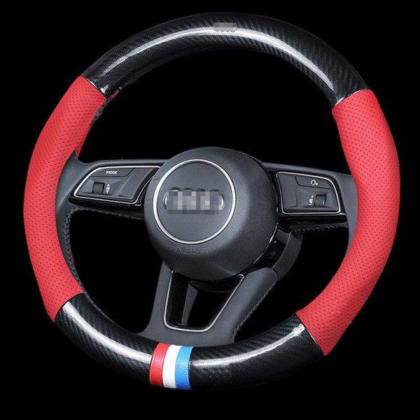Universal para Audi rojo con fibra de carbono negra Cubierta del volante Tamaño M 38 cm
