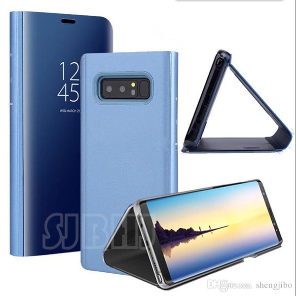 Smart Clear Mirror View Cases For Samsung Galaxy S8 S9 Plus S6 S7 Edge Note 8 5 A3 A5 A7 A8 2017 2018 case Flip Stand Phone case