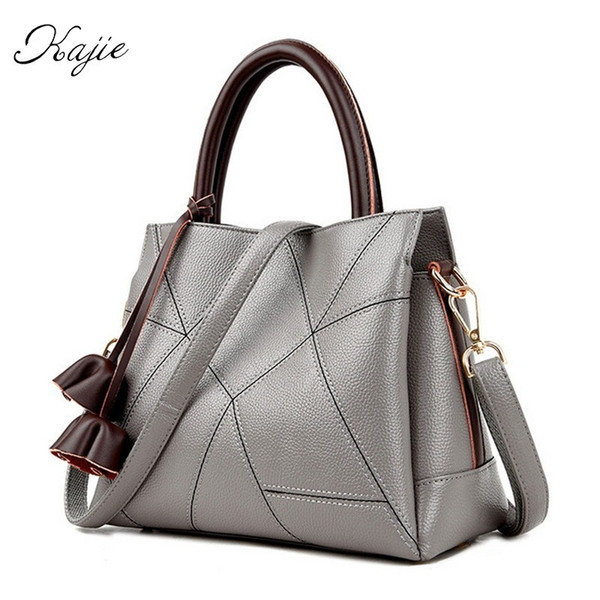Kajie Brand Genuine Leather Women Bag High Quality Handbag Luxury Messenger Bag Designer Gray Patchwork Bolsa Feminina Tote #44397