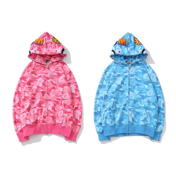 BAPE Herren Designer Hoodies 19ss Herren Damen Designer Blau Rosa Camouflage Jacke Bape Herren Hochwertige Casual Shark Print Sweatshirts
