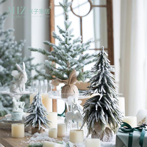 미즈 인공 크리스마스 트리 새 해 장식 홈 크리스마스 귀여운 장식 데스크톱 선물 작은 테이블 몰 창 눈 전나무 장식 Y200104