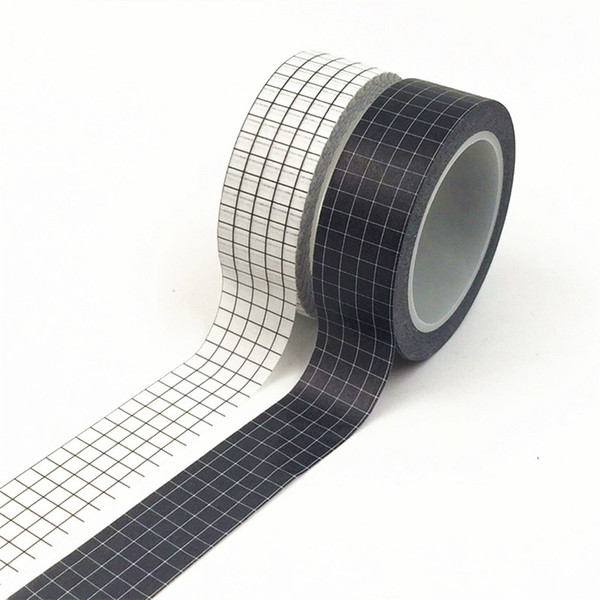 top popular 10M Black and White Grid Washi Tape Japanese Paper DIY Planner Masking Tape Adhesive Tapes Stickers Decorative Stationery Tapes 2016 2021