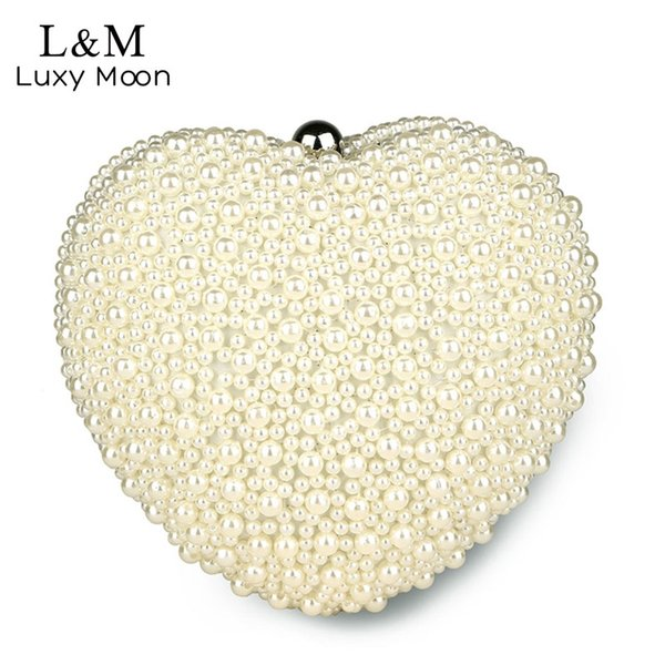 Luxy moon Pearl Evening Bag Women White Heart Hand Bag Bridal Wedding Dinner Party Purse Ladies Fashion Beading Day Clutch XA53H #88984