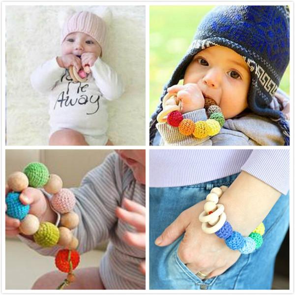 top popular Ins Europe Style Baby Infant Wood Bracelet Teething Nursing Teethers Newborn Natural Wooden Beads Teether Toys 2020