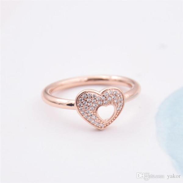 YENI Hollow kalp şekli 18 K Rose Gold Yüzük Seti Orijinal Kutusu Pandora için 925 Ayar Gümüş CZ Elmas Düğün bulmaca Yüzük