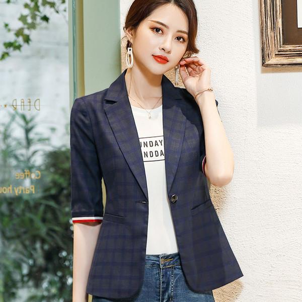 Gray blazer female 2019 spring summer new fashion slim slim casual wild plaid professional jacket office lady plus size coat