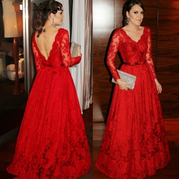 Vintage Red Lace Evening Dresses 2019 Long Sleeves V Neck Sexy Celebrity Plus Size Formal Prom Party Gowns for Women Wearv