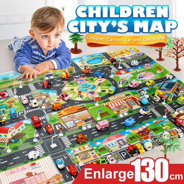 39 Stücke Stadt Karte Auto Spielzeug Modell Krabbeln Matte Gamepad für Kinder Interaktive Spielhaus Spielzeug (28 Stück Straßenschild + 10 Stück Auto + 1 Stück Karte)