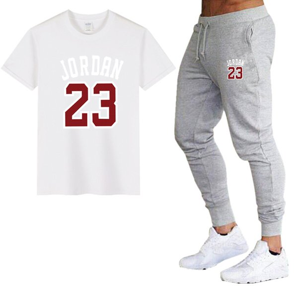 Ensembles d'été pour hommes T-shirts + pantalons Survêtement décontracté Femme t-shirt en coton imprimé logo 23 Pantalons d'entraînement pour hommes