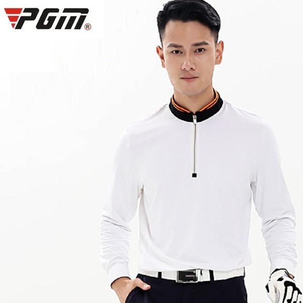 top popular Men Golf Long Sleeve Shirt Quick-drying Sportswear Man Front Zipper Collar Slim Tennis Shirt Breathable Golf Apparel AA11841 2019