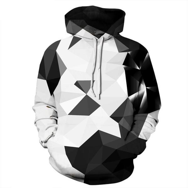 geometric Print Men Hooded Sweatshirt Black and white Mix Color casual Pullovers hoodie Men/women Hoodies S-3XL