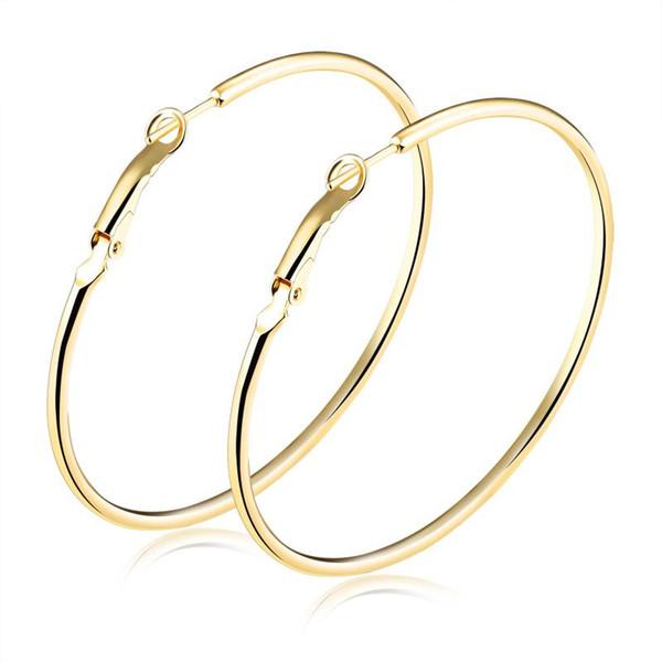 Europeo y americano Anillo simple Oído grande Círculo Discoteca Moda Exagerados Aretes de oro Pendientes de dama Temperamento popular