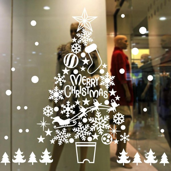 Creative Large Christmas Non Glue Electrostatic Sticker Window Clings Decal Stickers Christmas Winter Wonderland Decorations Cheap Wall Art Decals
