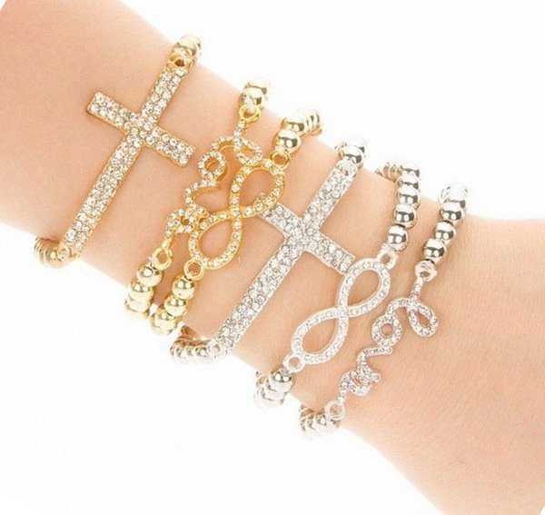 pameng new fashion crystal cross love stretch charm bead silver color elastic rope bracelets for women jewelry s0051 gold color