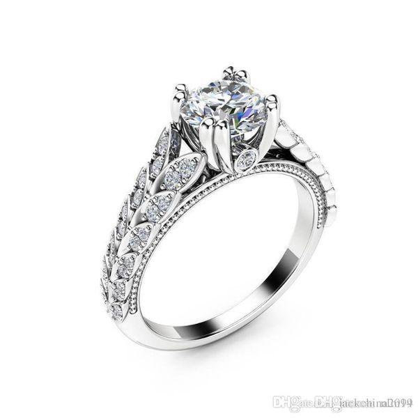 ANNEAUX de la bande de Lucky gros Luxe Bijoux 925 Saphir Blanc Pave Argent Sterling CZ Diamant Double Feuille Party Bague de mariage de bande pour les femmes