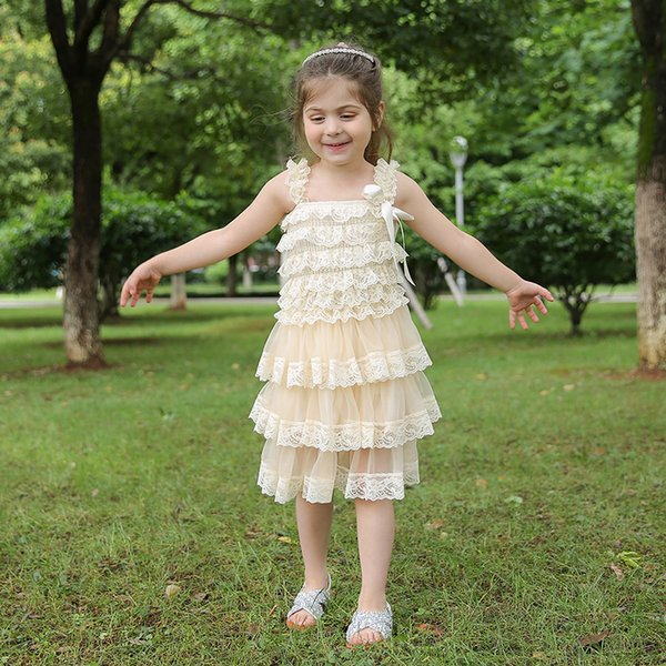 Wholesale Kids Lace and Chiffon Tutu Dresses Wedding Princess Dress Cream Tulle Summer Party Flower Girls Layered Dress