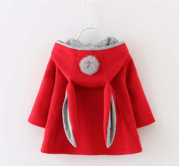 Autumn and winter new girls sweater coat cotton long rabbit ears hooded jacket girls children's clothing