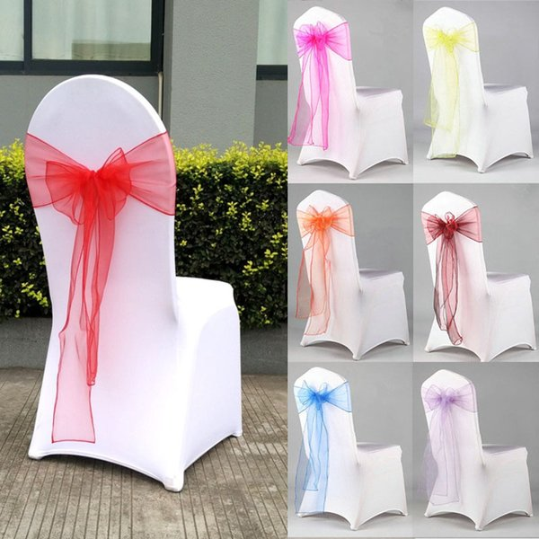 Organza Chair Sash Bow For Cover Banquet Wedding Party Event Chrismas Decoration Sheer Organza Fabric Chair Covers Sashes HH7-2051