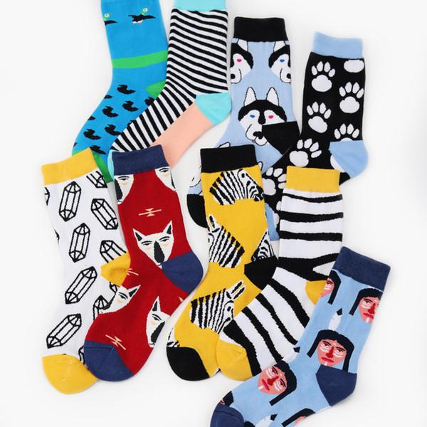 top popular New Cartoon Animal Dog Zebra Duck Fox Fashion Diamond Stripe Pattern Man Happy Socks Colorful Casual Cotton Socks Autumn 2pcs=1pairs 2021