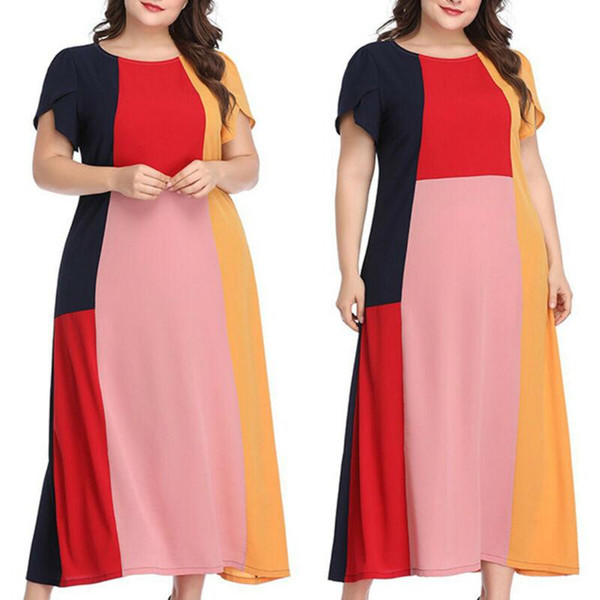 Kadın Baggy Kısa Kollu Gömlek Maxi Elbise Yaz Casual Uzun Artı Boyutu Elbise