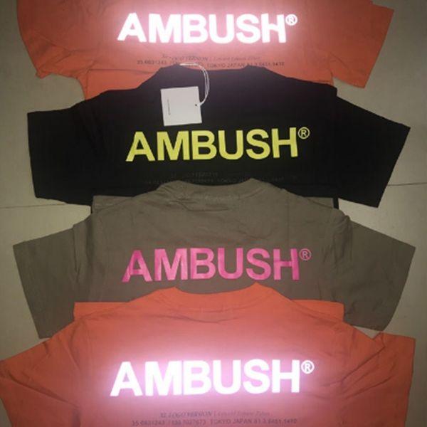 1: 1 Hip Hop Pusu T-shirt Erkek Kadın Turuncu 3 m Yansıtıcı Yüksek Kaliteli Pusu T-shirt Rahat Pusu En Tees