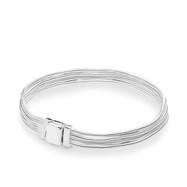 NEW 2019 100% 925 Sterling Silver Spring Reflexions Multi Snake Chain Bracelet Fit European Style DIY Girl Original Fashion Gift