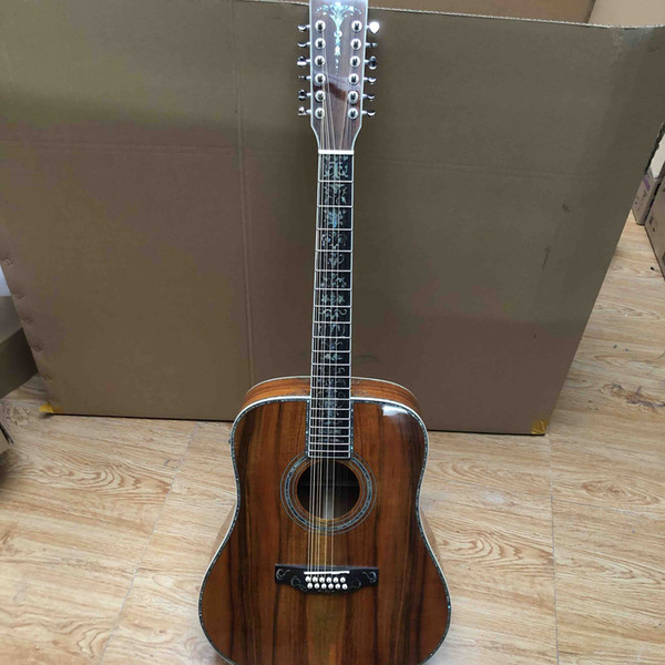 best selling 12 Strings Deluxe Solid KOA Wood Abalone Inlay Ebony Fingerboard Acoustic Guitar Headstock Can be Customized Logo