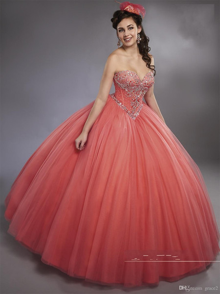 Sleeveless Watermelon Ball Gown Quinceanera Dresses with Detachable Straps Basque Waistline Sweet 15 16 Princess Dresses Custom Made