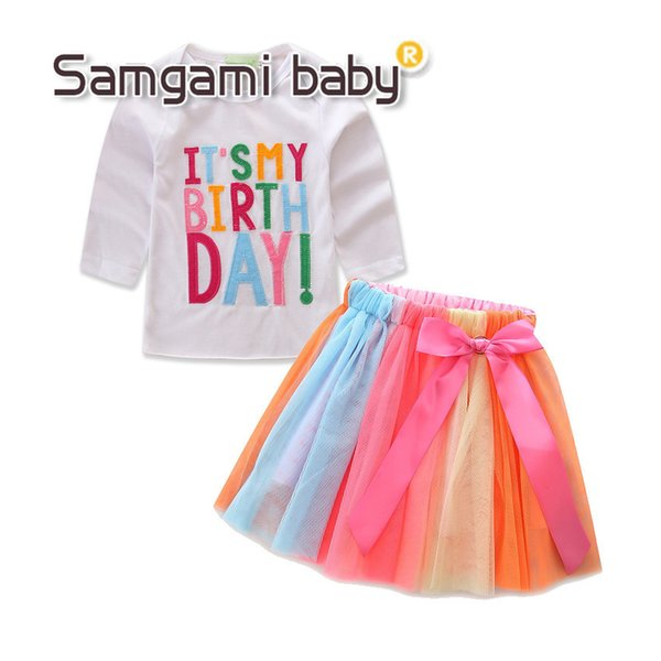 New Baby Girl Birthday Clothing Set T-shirt Long sleeve Embroidered Letters IT'S MY BIRTHDAY +Rainbow Tulle Skirt with Bowknot 2pcs 12M-5Y