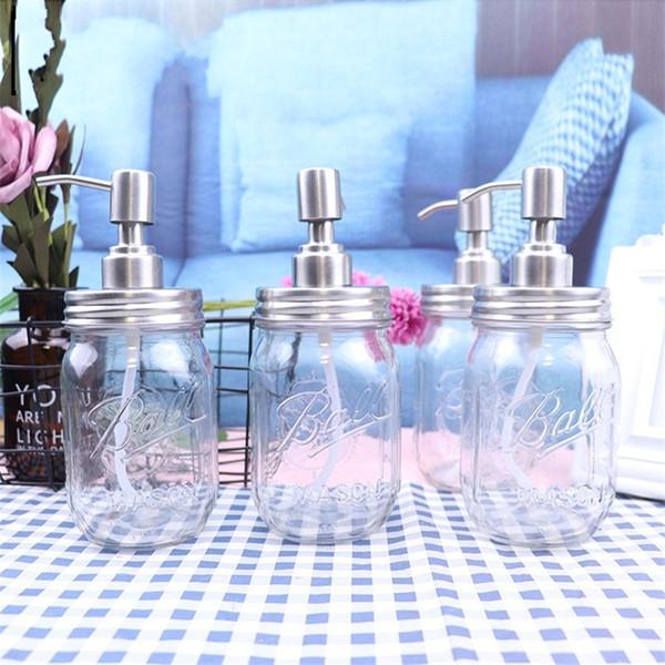 DIY main Distributeur de savon en acier inoxydable Pompe Couvercles Mason Bocal Relief transparent douche bouteilles de gel de haute qualité 7JA E1