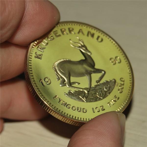 Livraison gratuite 5pcs / lot, 1996 Afrique du Sud Krugerrand Gold Coin 24K Plaqué Or Preuve Pièce d'Or Sans Copie ni Réplique