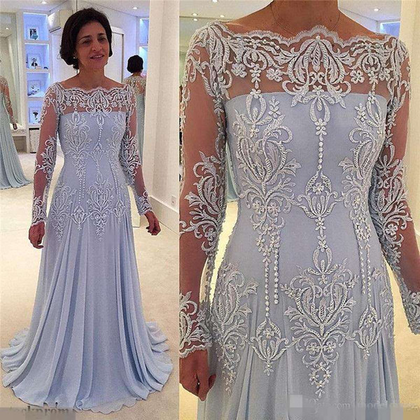 top popular New Long Sleeves Formal Mother Of The Bride Dresses Off Shoulder Appliques Lace Pearls Mother Dress Evening Gowns Plus Size Customized 2019