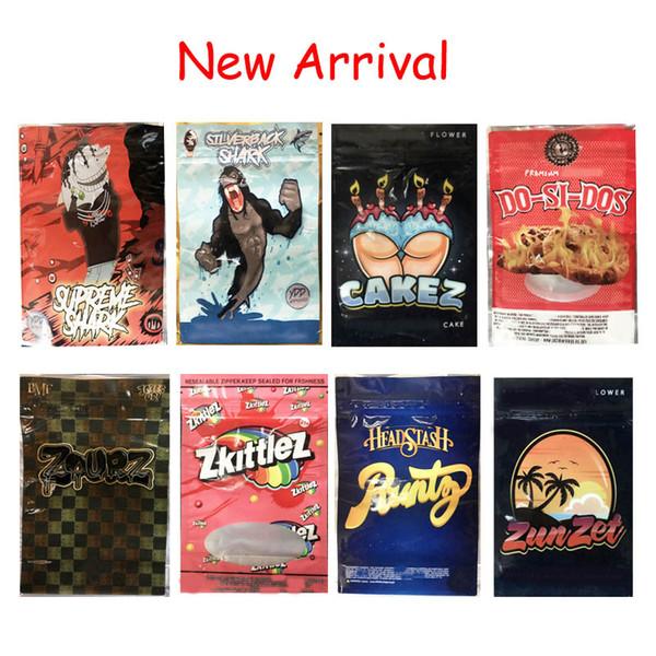 top popular 3.5g Mylar Bag New Sharklato SilverBack Shark Cakez Zunzet Zkittlez Dosidos Black Zourz Headstash Runtz Smell Proof Packaging Bags Dry Herb 2020