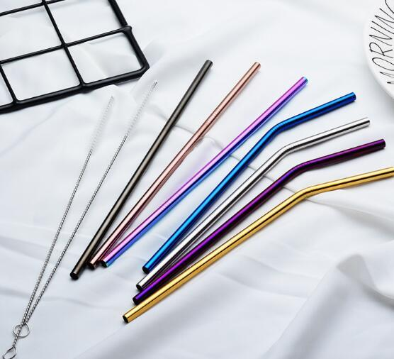 top popular 6*215mm 304 Stainless Steel Straw Bent And Straight Reusable Colorful Straw Drinking Straws Metal Straw Cleaner Brush Bar Drinking Tool 2020