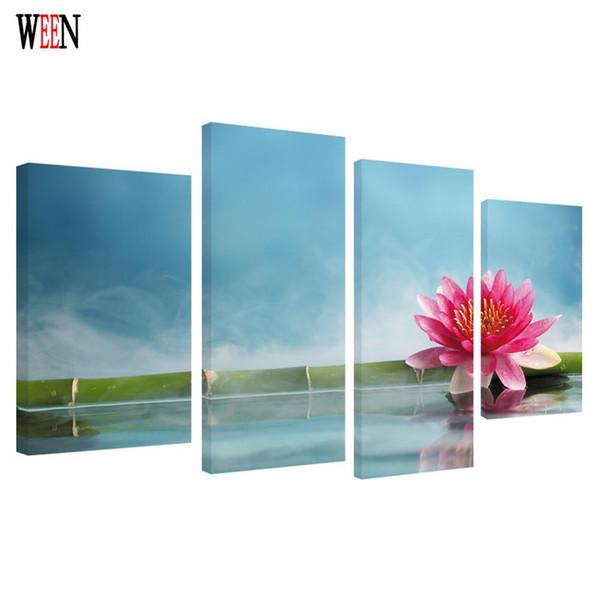 WEEN HD Lotus Bambou Imprimé Encadré 4 pcs Toile Art Fleur Mur Photos Pour Salon Affiche Directement Remis Art 2017 Cadeau