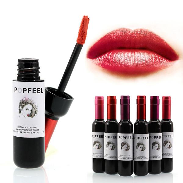 6 Color POPFEEL Sexy Wine Gloss Lipstick Tint Matte Liquid Waterproof Long Lasting Lip Stick Nude Baby Beautiful Lips No Fading Factory