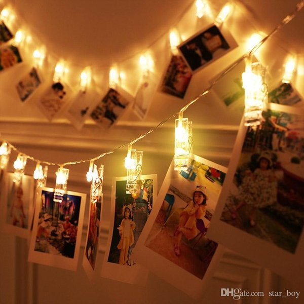 1.5M/3M/4.5M/6M/7.5M Battery Operated LED Garland Card Photo Clip Led String Fairy Lights Christmas Wedding Valentines Bedroom Decor