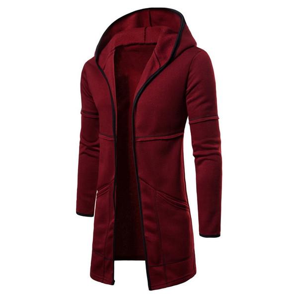 2019 capa encapuchada de la capa sólida de manga larga fosa de los hoodies ocasionales de gran tamaño Cárdigan largo abrigo Casaco Masculino Abrigo Hombre